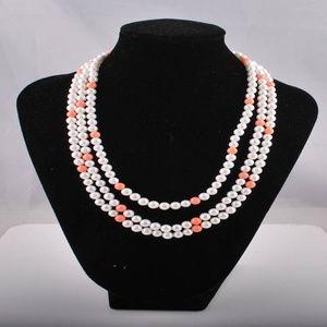 silver-tone salmon pearl thre- strand  necklace